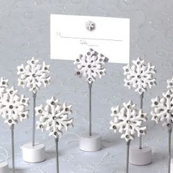 Snowflake Wedding Place Card Holder with Matching Place Card
