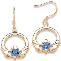 December Birthstone Claddagh Earrings