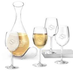 Monogrammed White Wine Glasses and Decanter
