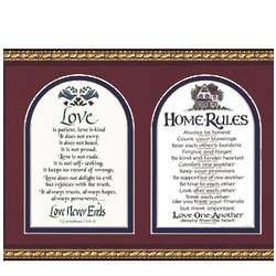 Home Rules with Love is Patient Framed Wall Hanging