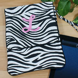 Embroidered Zebra Print Tablet Case