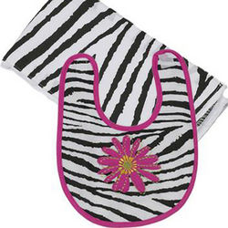 Zebra Boxed Bib and Burp Cloth Set