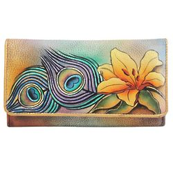 Hand Painted Leather Accordian Flap Wallet