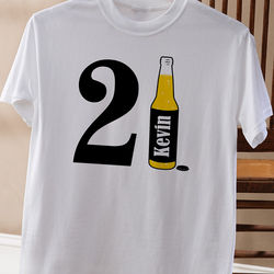 Personalized Men's 21st Birthday Beer White T-Shirt