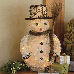 Small Rattan Lighted Snowman Accent