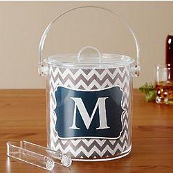 Personalized Chevron Acrylic Ice Bucket