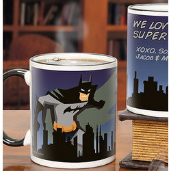 Batman Personalized Black Handle 11-Ounce Coffee Mug