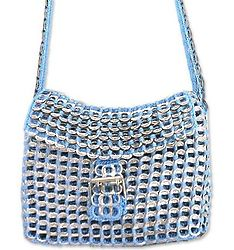 Silver Blue Success Handcrafted Soda Pop-Top Shoulder Bag
