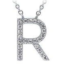 Cubic Zirconia Sterling Silver Initial Letter Pendant