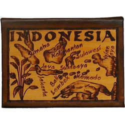 Indonesia Map Leather Photo Album in Natural