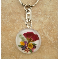 Sterling Silver Keyring with Real Flowers