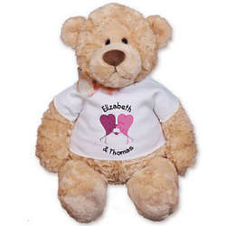 Personalized Two Kissing Hearts Romance Teddy Bear