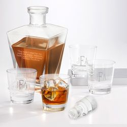 Double Old Fashioned Glasses and Liquor Decanter Gift Set