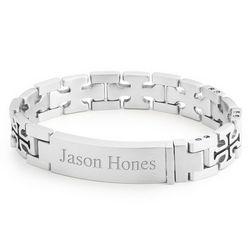 Stainless Steel Cross Link ID Bracelet
