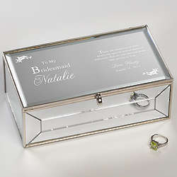 To My Bridesmaid Mirrored Personalized Jewelry Box