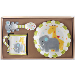 Ceramic Safari Baby Feeding Set