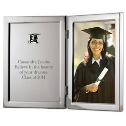 Silver Graduation Frame with Personalized Plaque