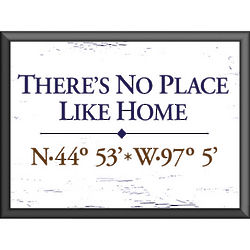 There's No Place Like Home Latitude and Longitude Plaque