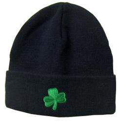 Adult Embroidered Shamrock Knit Hat
