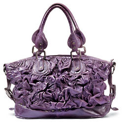 Purple Ruched Roses Leather Handbag