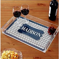 Personalized Chevron Rectangle Acrylic Tray