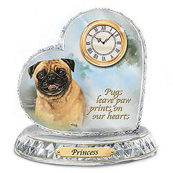 Pug Art Crystal Heart Clock