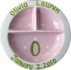 Personalized Pink and Green Divided Ceramic Baby Plate