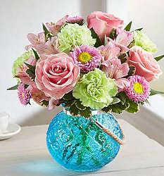 Splendid & Sweet Bouquet in Hanging Blue Vase