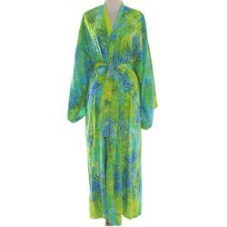 Leafy Haven Rayon Batik Robe