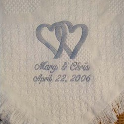 Interlocking Hearts Personalized Wedding Afghan