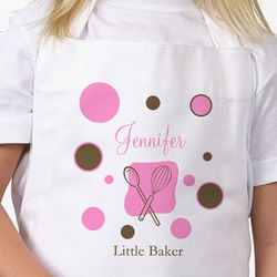 Lil Baker Personalized Kids Apron with Polka Dots