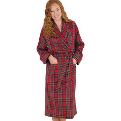 Stewart Plaid Flannel Robe for Women