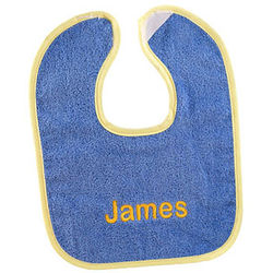 Periwinkle and Yellow Personalized Bright Baby Bib