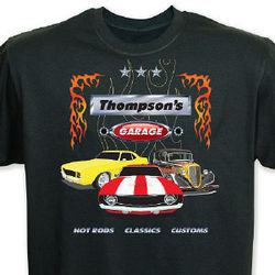 My Garage Personalized Black T-Shirt