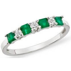 1/2 Carat Emerald and Diamond Sterling Silver Ring
