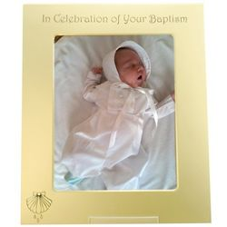Personalized Baptism Gold Metal Frame