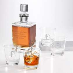 Monogrammed Double Old Fashioned Glasses and Decanter