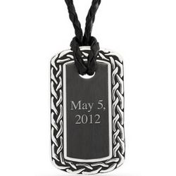Engravable Celtic Border Dog Tag Necklace