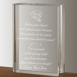 Crystal Book Graduation Personalized Plaque