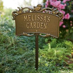 Bird and Scroll Personalized Aluminum Garden Sign