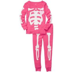 Toddler's Pink Skeleton Pajama Set