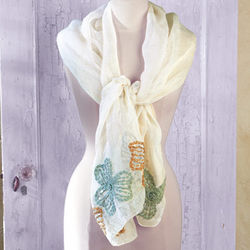 Linen and Silk Flowers Scarf