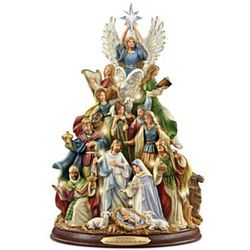 Tabletop Illuminated Nativity Tree with Narration