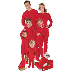 Matching Red Cotton Dropseat Christmas Family Pajamas