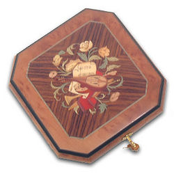 Octagonal Musical Jewelry Box with Instrument Inlay