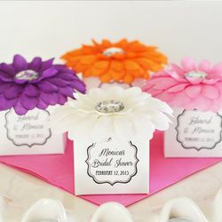 Personalized Bridal Rhinestone Flower Favor Boxes