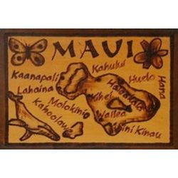 Maui Map Leather Photo Album in Natural
