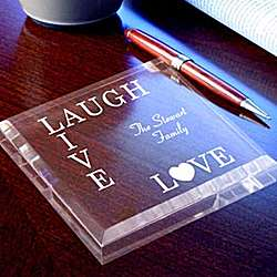 Personalized Live, Love, Laugh Paperweight