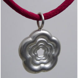 Solid Silver Rosette Pendant with Satin Chain