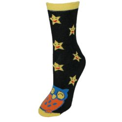Owl with Starry Night Non Skid Slipper Socks